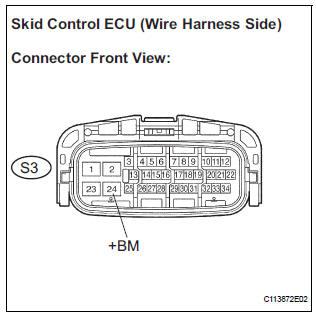 inspect skid control ecu (+bm terminal voltage)