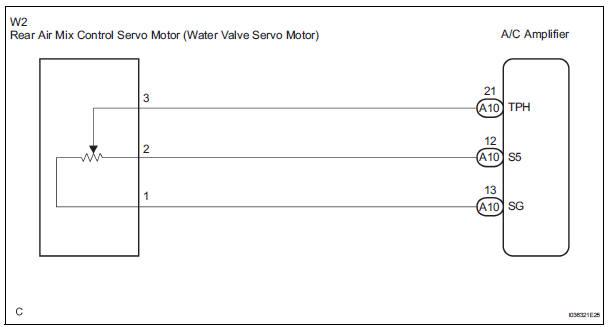 Rear Air Mix Damper Position Sensor Circuit