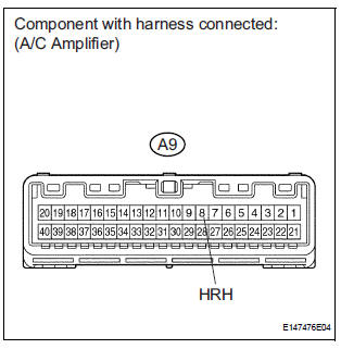 CHECK HARNESS AND CONNECTOR (A/C AMPLIFIER - BATTERY)