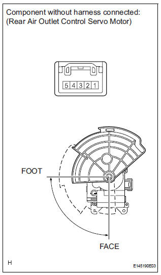 Air outlet control servo motor (for rear air conditioning system)