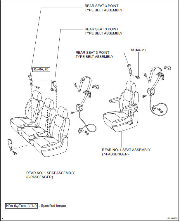 Toyota Sienna Service Manual Rear Seat Inner Belt Assembly