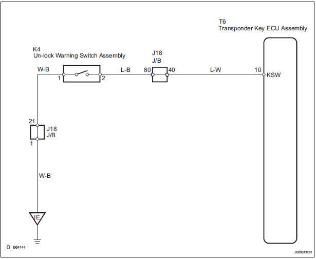 Toyota Sienna Service Manual: Push Switch / Key Unlock Warning
