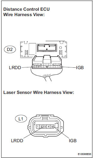 check harness and connector (distance control ecu - laser sensor)