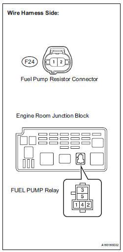 check harness and connector (fuel pump relay - fuel pump resistor)